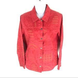Chico's Red Denim Jean Button Front Jacket 1 S 8